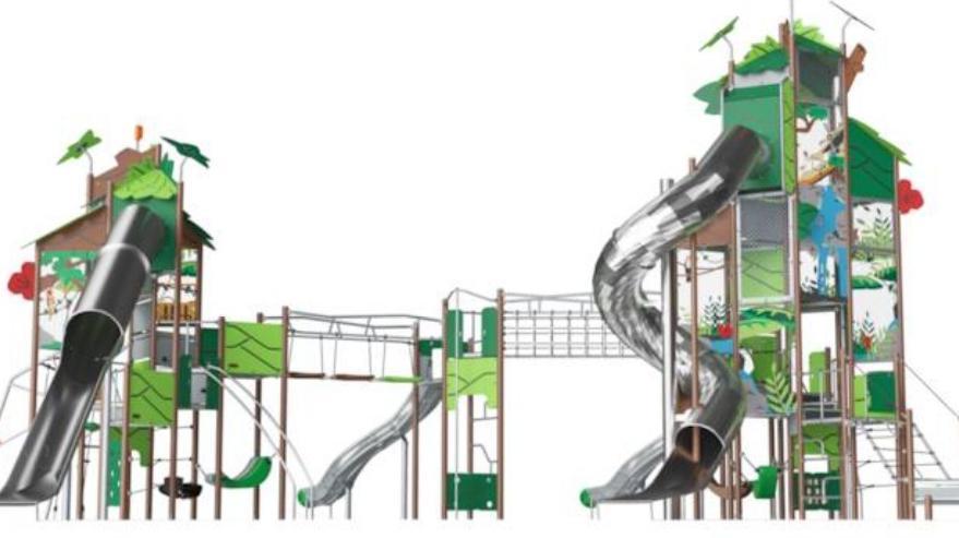 Super parque infantil aprovechando toldo Pz. Ecópolis